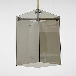 Lámpara colgante de vidrio y latón de Max Ingrand, años 60