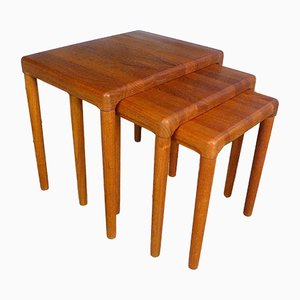 Danish Solid Teak Nesting Tables from Dyrlund, 1960s