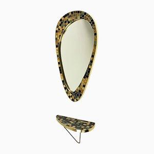 Specchio e consolle da parete Freeform dorati e con mosaico, anni '50