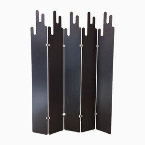 Biombo italiano en negro con cinco paneles, años 70