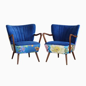 Mid-Century Blue Velvet Armchairs with Flower Patterns, Set of 2
