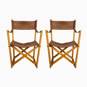 Sedie pieghevoli in pelle color cognac di Mogens Koch per Cado, anni '70, set di 2