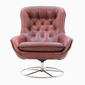 Scandinavian Leather Swivel Chair from PeeM, 1970s