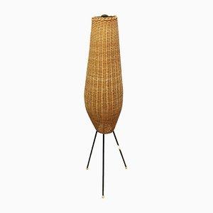 Lámpara de pie Mid-Century con pantalla de mimbre