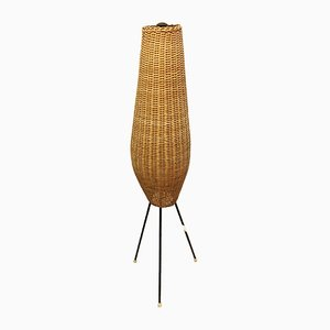 Mid-Century Floor Lamp with Wicker Shade
