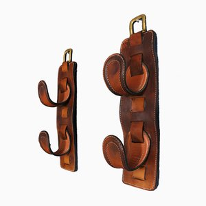 Leather Wine Holders by Jacques Adnet, 1940s, Set of 2