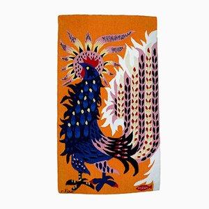 Französischer Wandteppich aus Wolle mit Hahn von Michelle Ray für Robert Four, 1970er