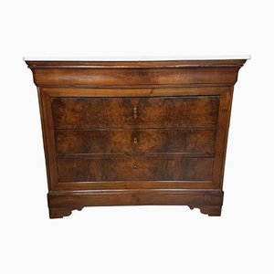 Antique Walnut Dresser with Marble Top, 1830s