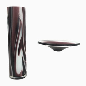 Mid-Century Marbled Vase with Murano Dish from Carlo Moretti, 1960s
