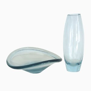 Cocoon Vase with Selendia Dish by Per Lutkens for Holmegaard, 1950s