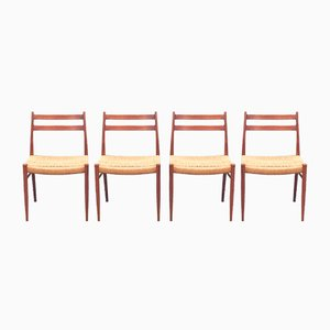 Scandinavian Teak Chairs Model GS70 by Arne Wahl Iversen, 1960s, Set of 4