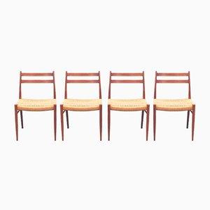 Skandinavische Modell GS70 Stühle aus Teak von Arne Wahl Iversen, 1960er, 4er Set