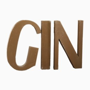 Vintage French Lacquered Metal GIN Letter Set, 1940s