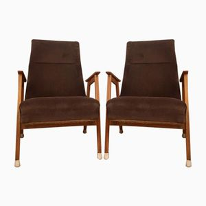 Light Brown Velvet Armchairs, 1960s, Set of 2