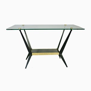 Glass, Brass & Black Lacquered Steel Coffee Table by Angelo Ostuni, 1950s