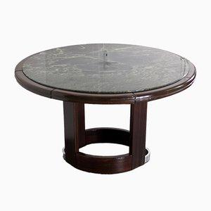 Französischer Tisch aus grünem Marmor & Holz, 1975