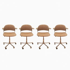 Czech Swivel Office Chairs, 1970s, Set of 4