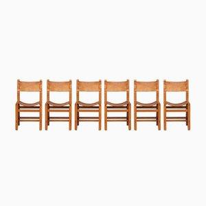 Sedie in olmo e pelle di Maison Regain, anni '60, set di 6