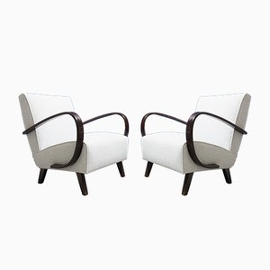 Light Grey Bentwood Armchairs by Jindrich Halabala for Thonet, 1930s, Set of 2