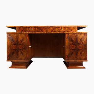 Italian Art Deco Walnut Desk, 1930s