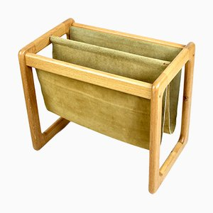 Danish Suede & Wood Magazine Rack, 1960s