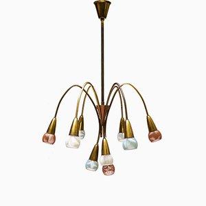 Lámpara de araña alemana de latón, años 50