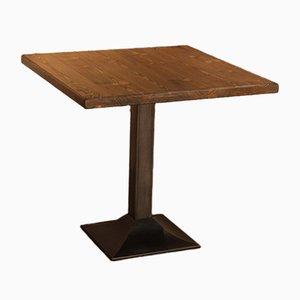 Mesa de bistró cuadrada de hierro fundido y acero, años 80