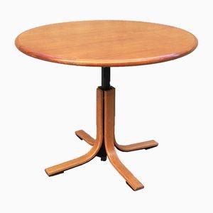 Tavolo da pranzo rotondo in legno e metallo, anni '60