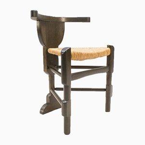 Mid-Century Holzstuhl mit Geflecht