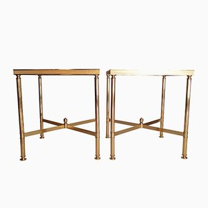 French Gold Side Tables, 1970s, Set of 2
