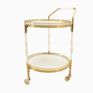 Hollywood Regency Serving Trolley in Gold & White, 1960s