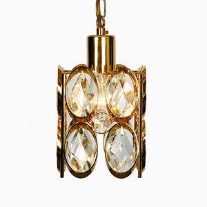 Lámpara colgante pequeña de latón con piedras de cristal facetado de Palwa, años 70