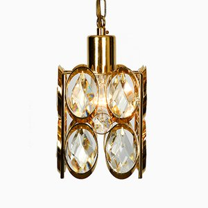 Small Brass Hanging Lamp with Faceted Crystal Stones from Palwa, 1970s