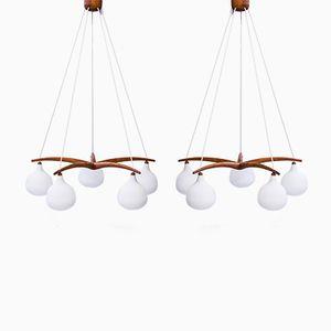 Lámparas de araña de Uno & Östen Kristiansson para Luxus, años 50