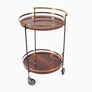 Mid-Century Italian Rosewood & Brass Drinks Trolley