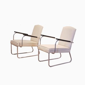 Tubular Chromium Easy Chairs by Jan Schroefer for Ahrend De Cirkel, 1935