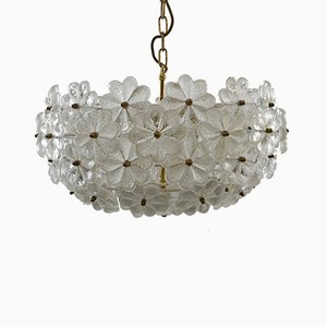 Large Floral Chandelier in Glass by Ernst Palme, 1960s