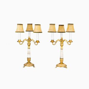Lámparas de mesa de alabastro dorado, década de 1890. Juego de 2