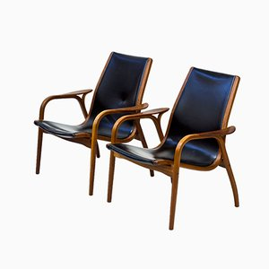 Laminett Armchairs in Teak & Black Leather by Yngve Ekström for Swedese, 1960s, Set of 2