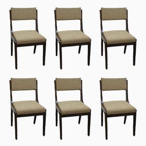 Scandinavian Wood & Fabric Chairs, 1970s, Set of 6