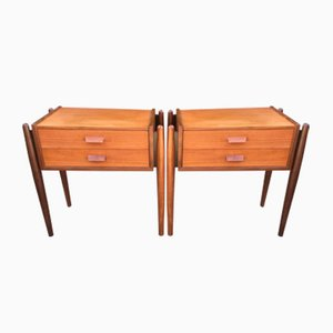 Mid-Century Teak Bedside Tables, Set of 2