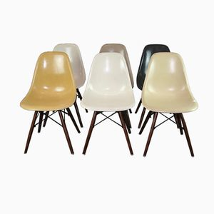 Vintage DSW Chairs in Walnut with Fiber Seats by Charles & Ray Eames for Herman Miller, Set of 6