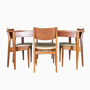 MidCentury Teak Dining Table And Dining Chairs From White - White and walnut dining table