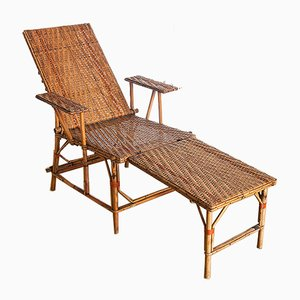 Mid-Century French Reed & Wicker Chaise Longue