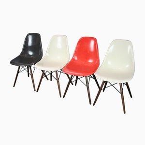 Vintage DSW Chairs aus Nussholz von Charles & Ray Eames für Herman Miller, 4er Set