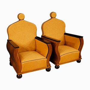 Vintage French Walnut Lounge Chairs, Set of 2