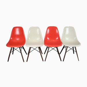 Vintage DSW Walnut Chairs by Charles & Ray Eames for Herman Miller, Set of 4