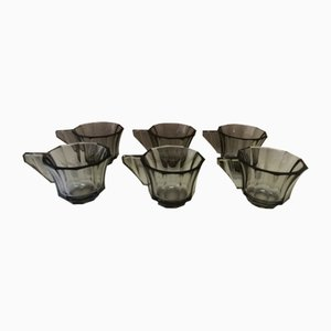 Art Deco Glass Desert Bowls, 1930s, Set of 6