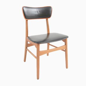 Danish Black Leatherette Dining Chairs, 1950s, Set of 4