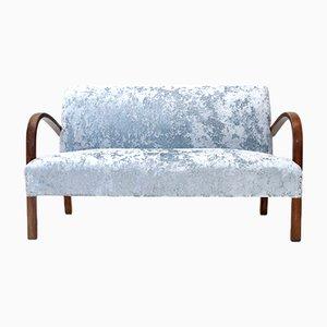 Vintage Blue Velvet Sofa, 1940s